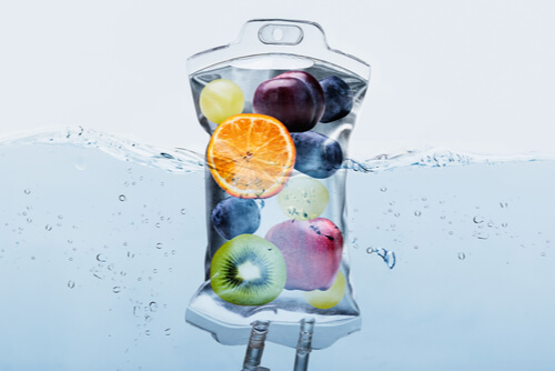 IV bag with fruit in it